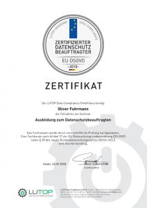 Zertifikat Datenschutzbeauftragter Oliver Fuhrmann