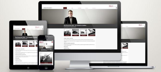 TYPO3 Website für Rechtsanwalt Weil aus Gießen